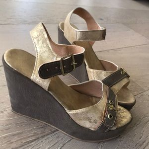 Gold and Taupe Wedges